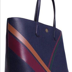 Tory Burch Printed Stripe Tote Bag navy